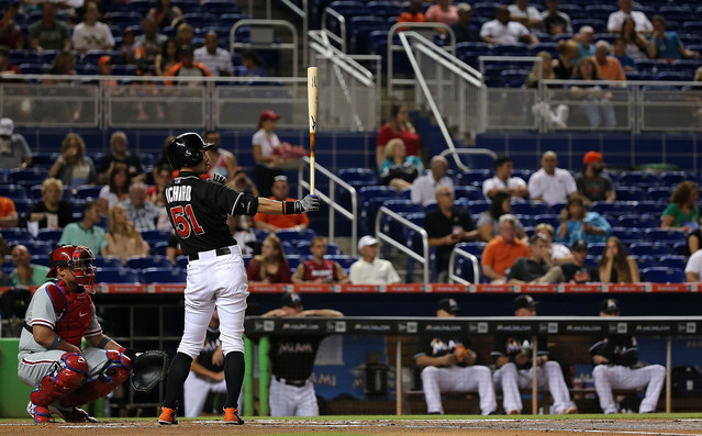 MIAMI, FL - AUGUST 22:  Ichiro Suzuki #51 of the Miami Marlins hits during a game against the Philadelphia Phillies at Marlins Park on August 22, 2015 in Miami, Florida.  (Photo by Mike Ehrmann/Getty Images)